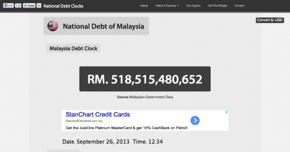 Malaysia Debt Clock : National Debt of Malaysia 2013-09-26 12-34-38