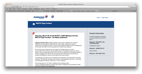 MH370 Flight Incident - Media Statement