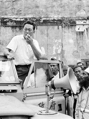 Lee Kuan Yew addresses crowds in 1964. His policies helped bring wealth to Singapore