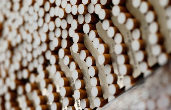 File photo of cigarettes seen during the manufacturing process in the British American Tobacco Cigarette Factory (BAT) in Bayreuth, southern Germany